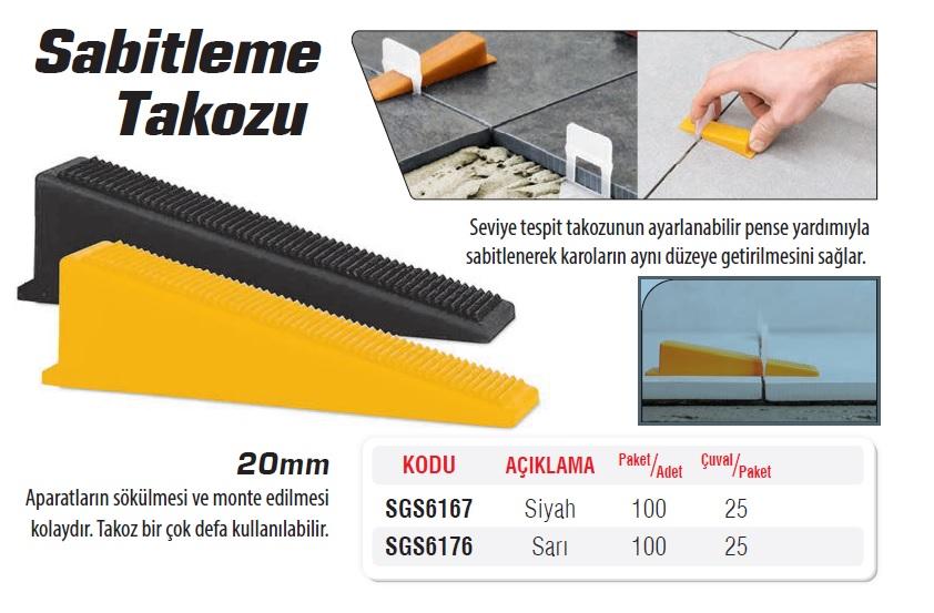 SGS6167 SABİTLEME TAKOZU SİYAH20mm (100 Adet) (1 Paket)